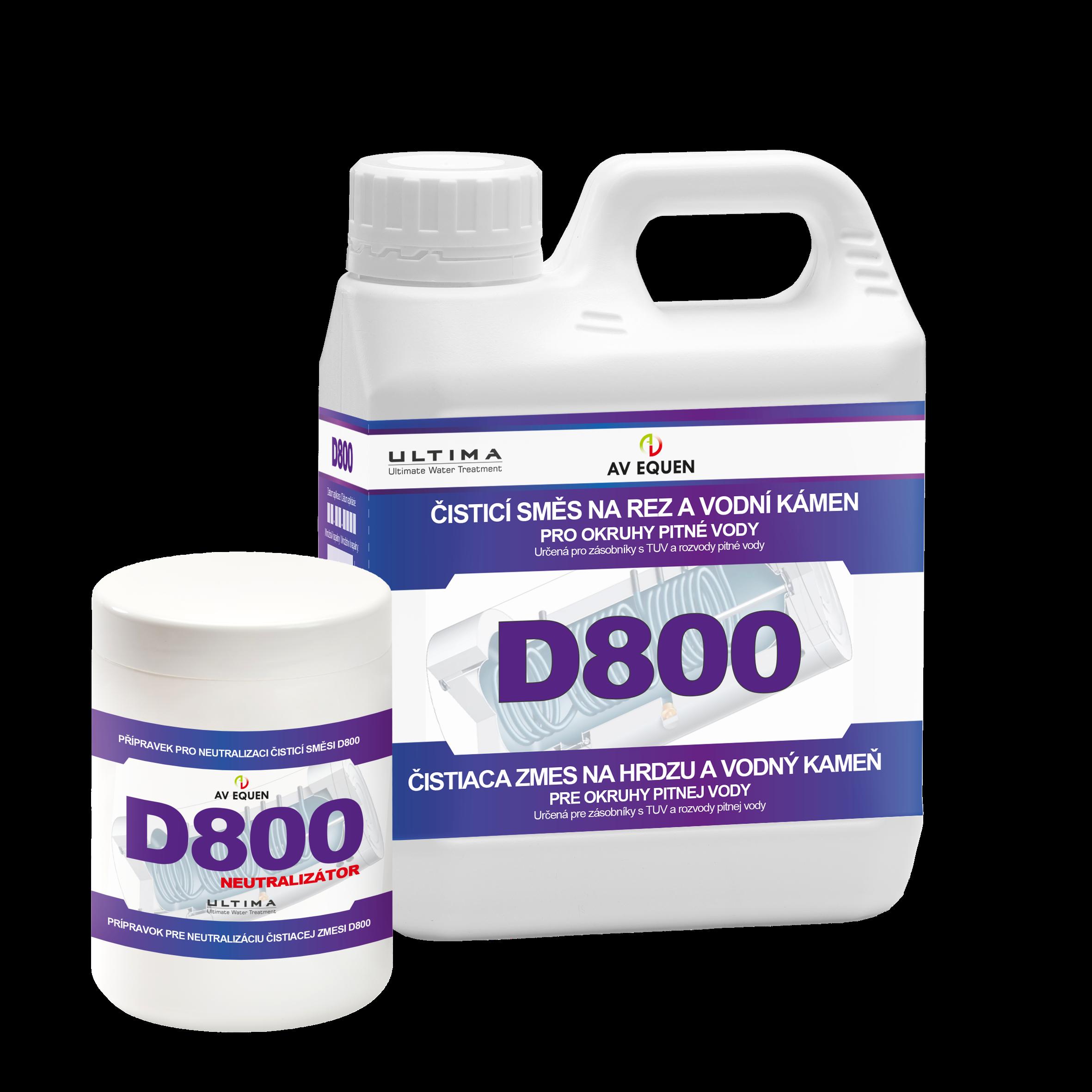 D800: Koncentrovaná čisticí směs určená k odstranění vodního kamene a rz